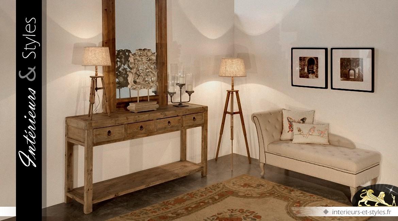 console rustique en bois recycl massif avec 4 tiroirs int rieurs styles. Black Bedroom Furniture Sets. Home Design Ideas