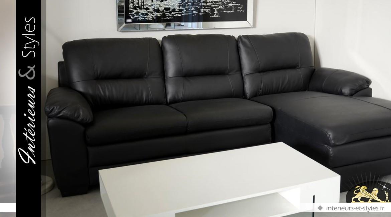 Canapé d'angle noir en cuir de vachette