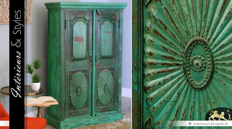 armoire de style oriental en manguier sculpt vert antique with armoire manguier. Black Bedroom Furniture Sets. Home Design Ideas