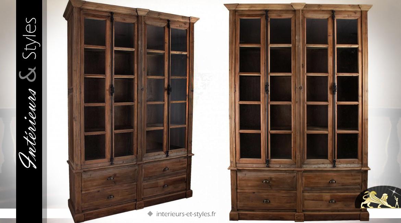 vitrine 4 portes vitr es meuble bas 4 tiroirs brun vieilli int rieurs styles. Black Bedroom Furniture Sets. Home Design Ideas