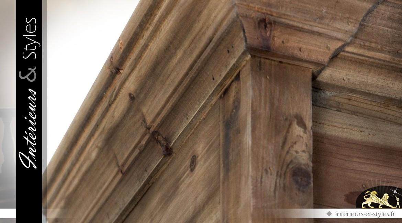 Vitrine style rustique en pin recyclé brun ancien à 2 portes