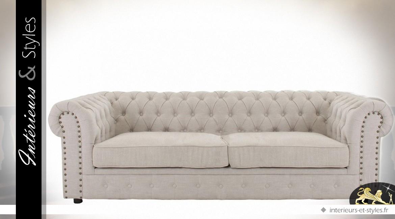 canap chesterfied 3 places en coton bistre et similicuir havane int rieurs styles. Black Bedroom Furniture Sets. Home Design Ideas