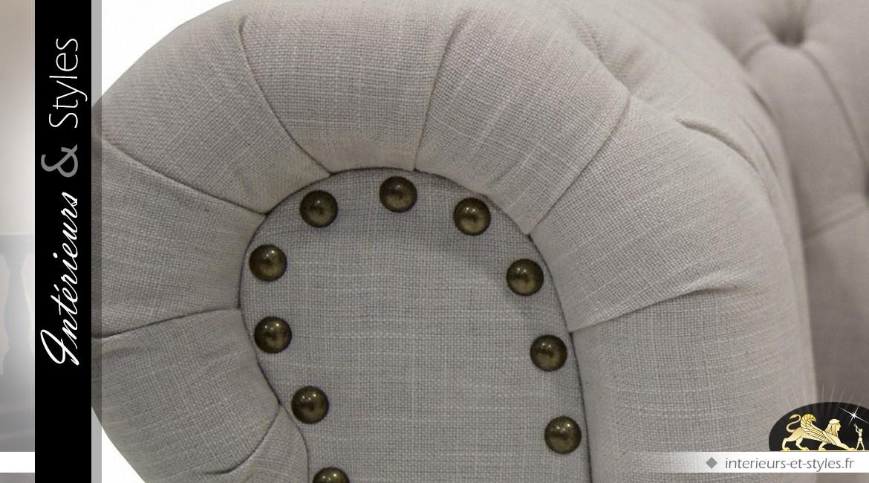 Canapé Chesterfield 3 places en pin massif et habillage coton écru