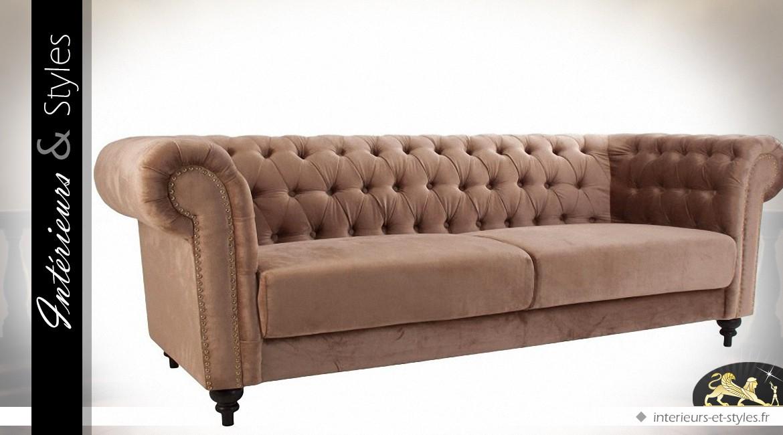 Canapé 3 places de style Chesterfield en tissu couleur fauve