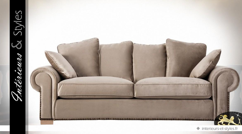 Grand canapé 3 places en velours beige chic 240 cm