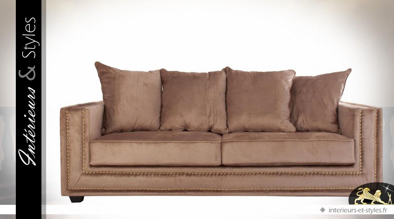 Canapé 3 places en tissu teinte ocre cuivré