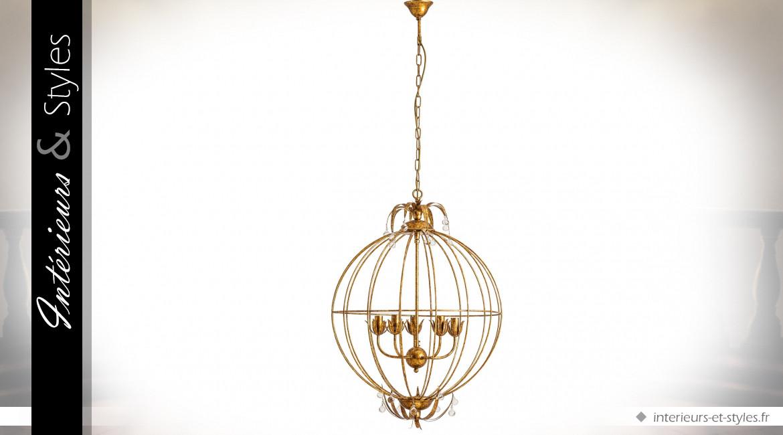 Lustre sphère 5 feux en métal, bois d'eucalyptus et verre coloris doré Ø 63 cm