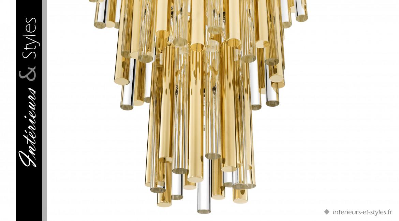 Lustre design Gigi L signé Eichholtz, en métal doré et tubes de verre