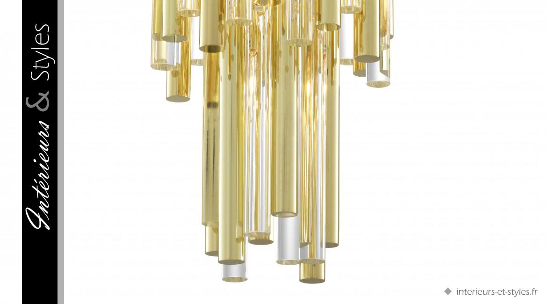 Lustre Gigi S signé Eichholtz, ambiance Art Déco, en métal doré et tubes de verre