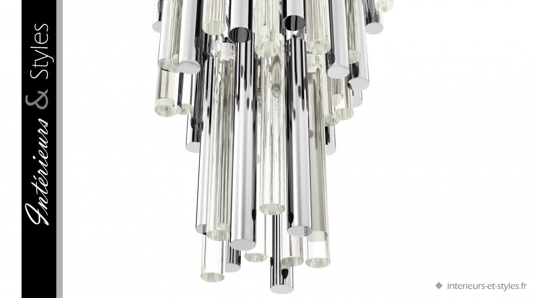 Lustre Gigi S signé Eichholtz, en métal nickelé et tubes de verre, ambiance Art Déco