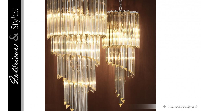 Lustre Marino signé Eichholtz, cacade de lumière en verre esprit Art Déco à 4 feux