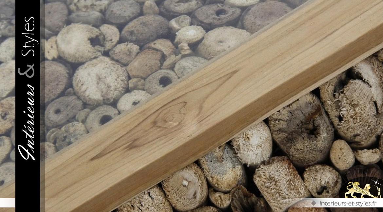 Table basse exotique composition de troncs et branches d'arbres