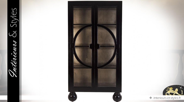 Vitrine noire style Art Déco à deux portes en mindi 190 cm