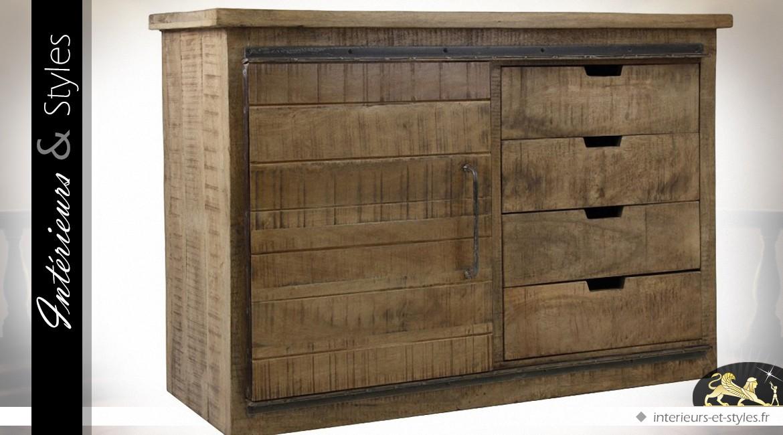 buffet rustique manguier massif style meuble d 39 atelier int rieurs styles. Black Bedroom Furniture Sets. Home Design Ideas