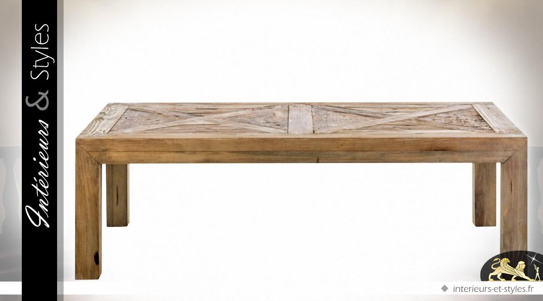 rustique x Table pin massif en basse cm 120 recyclé 70 EDWI2H9
