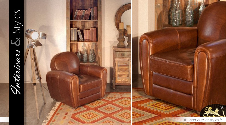 fauteuil club cuir marron vieilli int rieurs styles. Black Bedroom Furniture Sets. Home Design Ideas