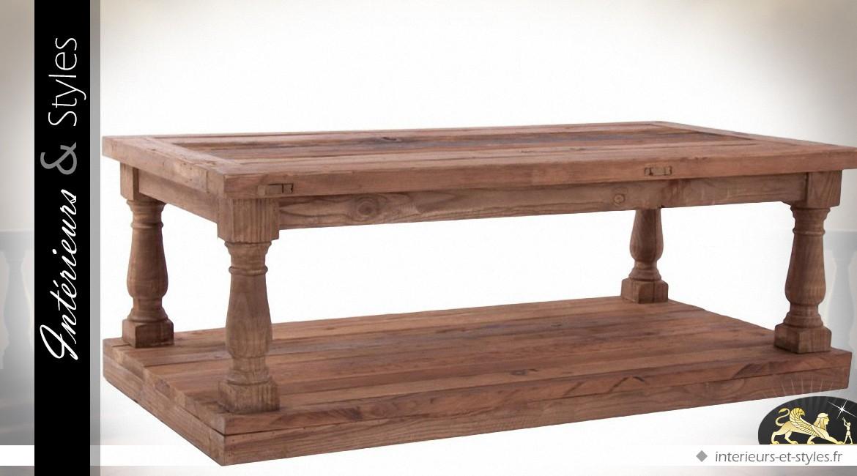 Table Basse En Pin Recyclé Avec Plateau Tressé 150 X 80 Cm