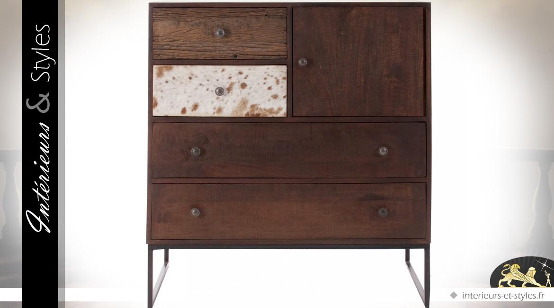Buffet vintage en bois et métal 1 porte et 4 tiroirs