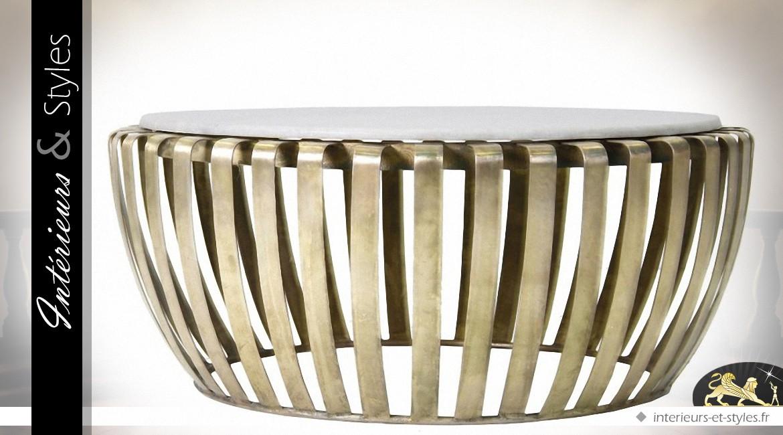 Table Basse Design Ronde En Laiton Doré Et Marbre Blanc Intérieurs