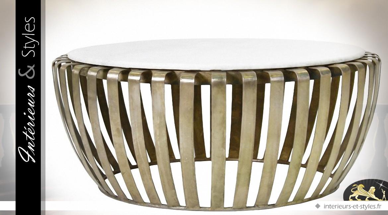 BlancIntérieurs Design Ronde Et Table Doré Marbre En Basse Laiton VSUMzp