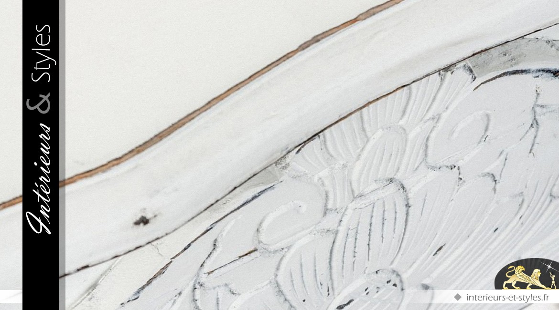 Console blanche rustique et baroque en pin recyclé