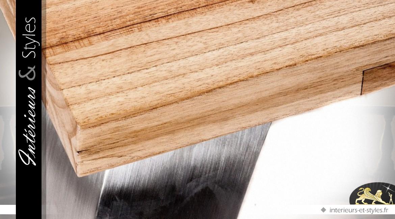 Table basse design en mindi massif et métal argenté brossé