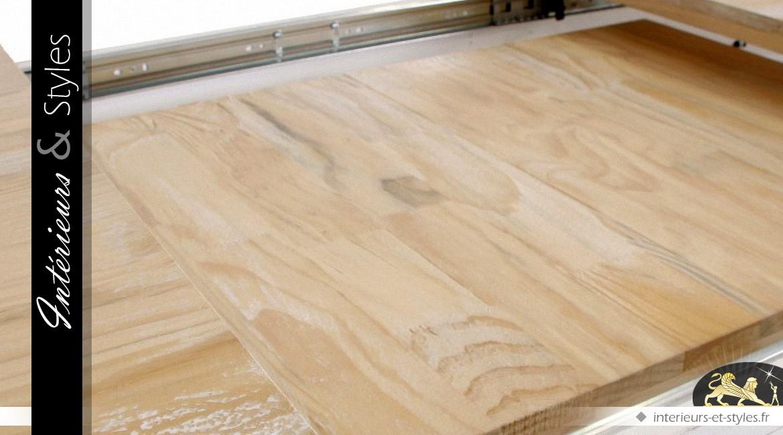 Table rustique extensible en pin recyclé finition blanc et bois naturel