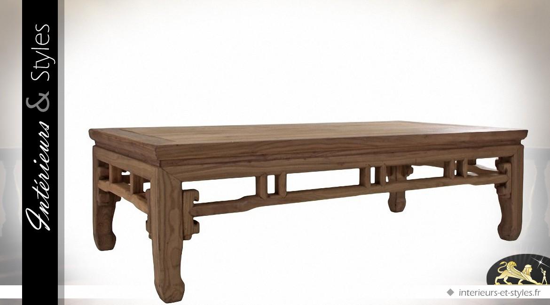 Table basse orientale rectangulaire en pin recyclé
