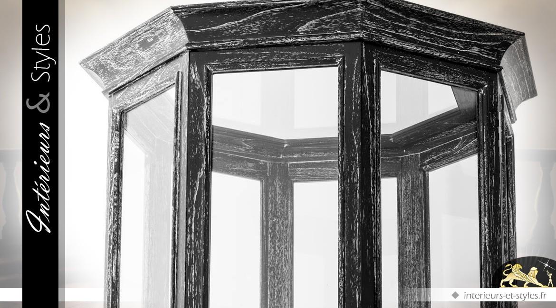 Grande vitrine octogonale mindi et verre finition noir vieilli 2,07 mètres