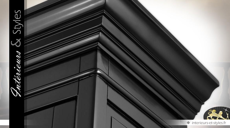 Vitrine noire à 2 portes à carreaux de style classique
