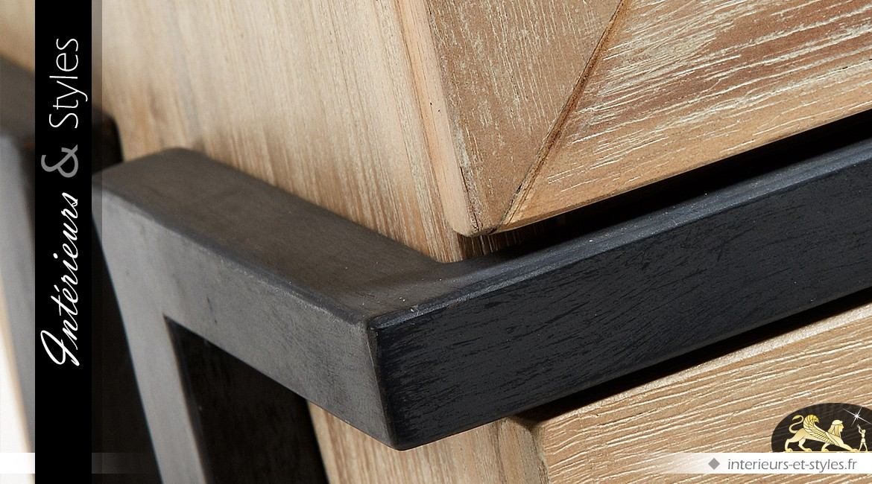 Vitrine moderne en acacia et métal finition bois naturel