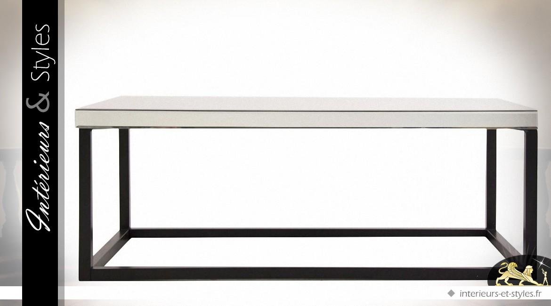 Table basse rectangulaire design en miroir et métal noir