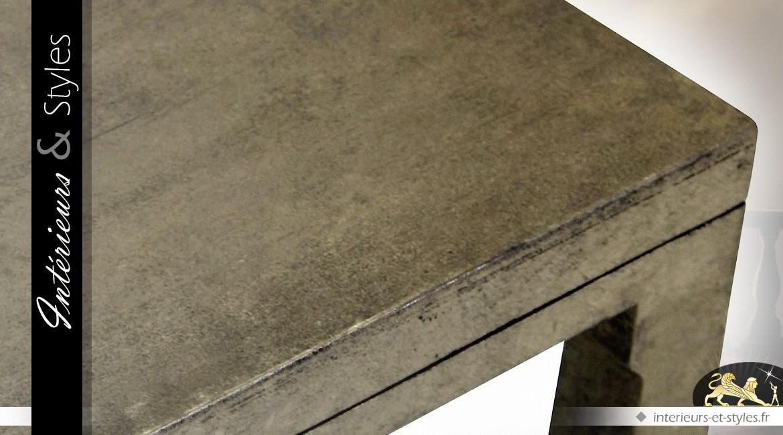 Table basse design mindi massif finition contreplaqué doré
