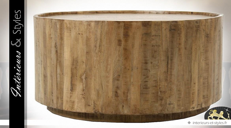 Table basse cylindrique en manguier finition natuelle Ø 92 cm