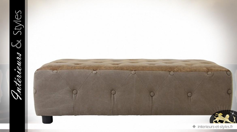 Table basse lounge capitonnée toile épaisse et microfibre