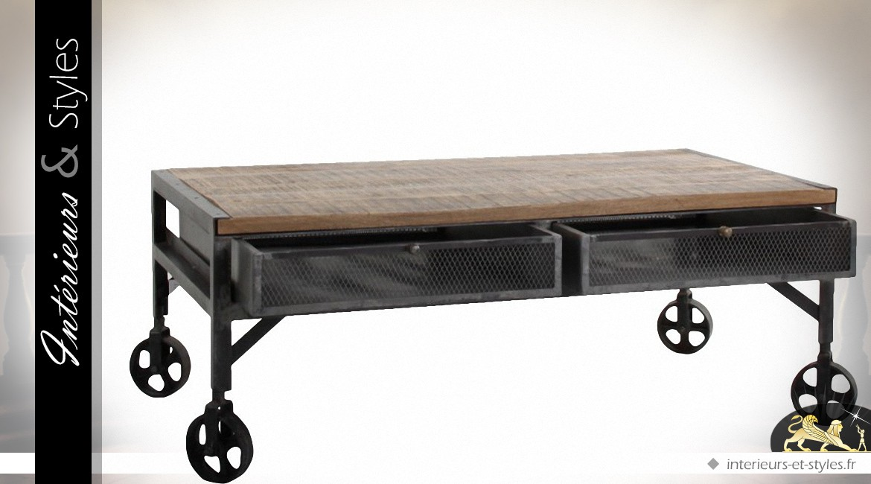 Table basse industrielle sur roulettes en bois et métal à 2 tiroirs