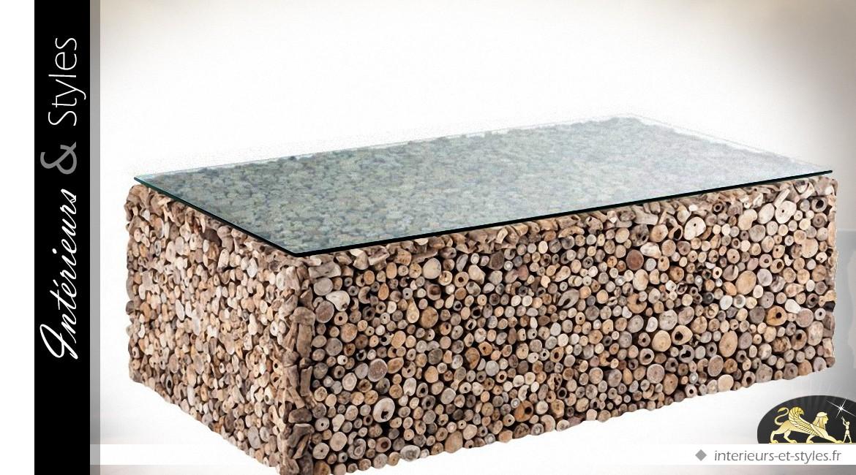 Table en basse bois flott et plateau verre tremp for Plateau bois flotte