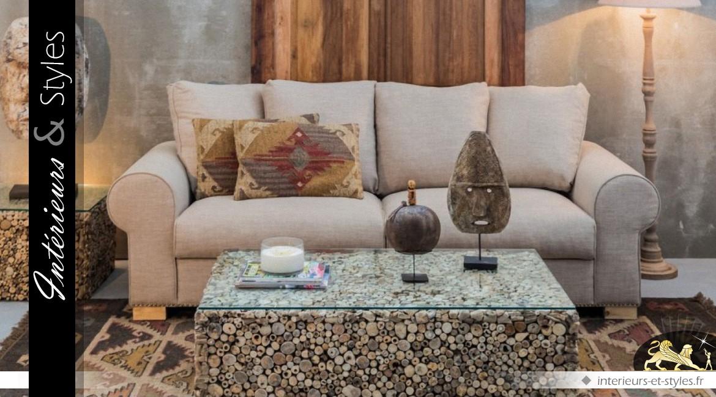 table en basse bois flott et plateau verre tremp. Black Bedroom Furniture Sets. Home Design Ideas