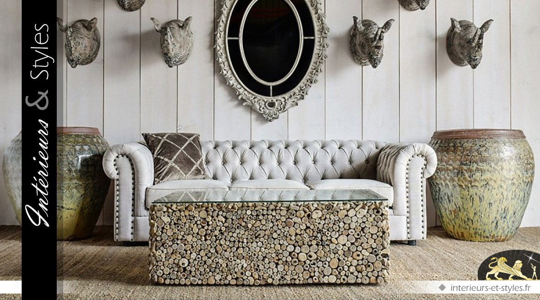 Table en basse bois flotté et plateau verre trempé