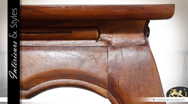 Table basse rectangulaire de style oriental en acajou