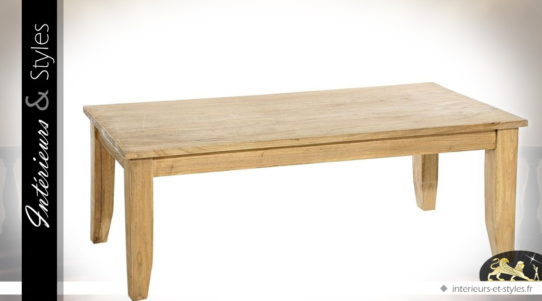 Table basse rustique en mindi finition naturelle 130 x 60