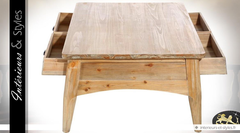 Table basse en boisde sapin de style campagnard et rétro