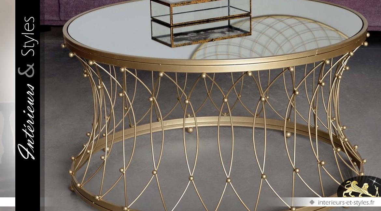 Table Basse Ronde En Metal Dore Avec Plateau Miroir O 90 Cm