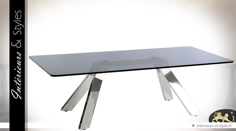 Table basse rectangulaire design en métal chromé et verre