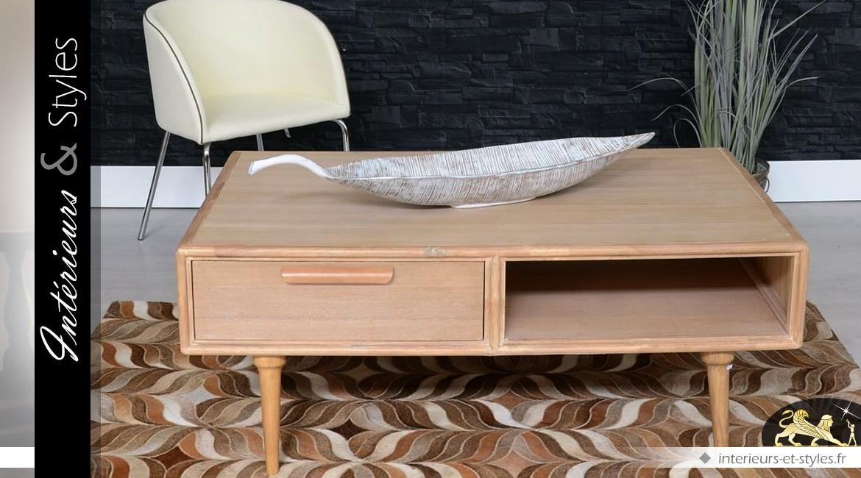 Table basse de style scandinave avec 1 tiroir et 1 niche