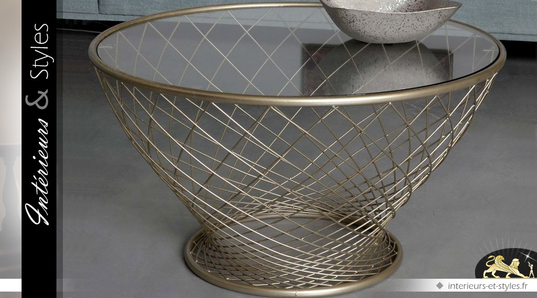 Table Basse Ronde Moderne En Verre Et Metal Finition Doree O 90 Cm