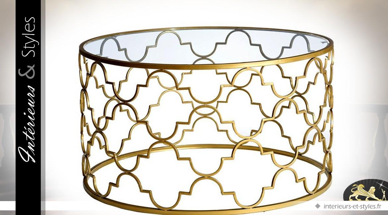 Ronde Style Table Métal Et Verre Basse Oriental Dorée En OXnP0wN8k