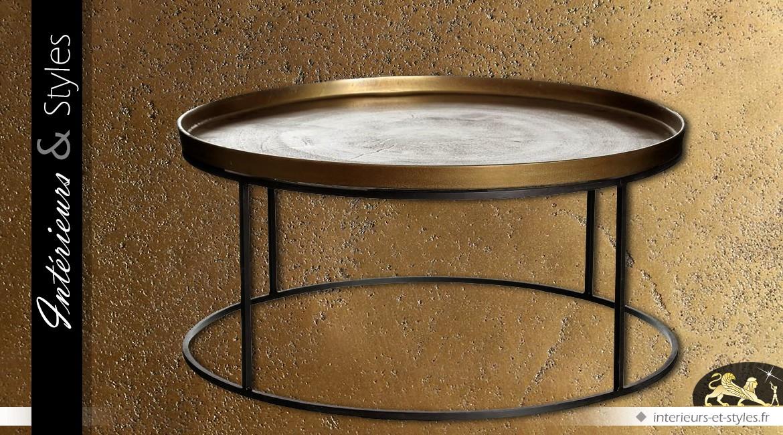 table basse ronde en inox finition dor e vieillie 88 cm int rieurs styles. Black Bedroom Furniture Sets. Home Design Ideas