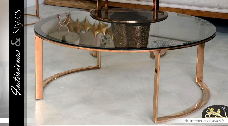 table basse design en m tal finition cuivre et plateau verre fum int rieurs styles. Black Bedroom Furniture Sets. Home Design Ideas