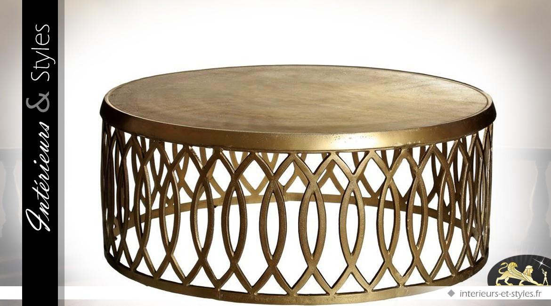 Table Basse Orientale Ronde En Metal Dore Et Vieilli O 90 Cm